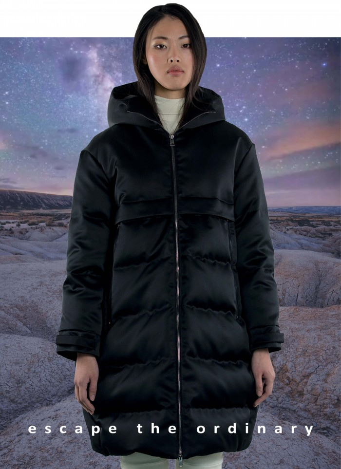 """LONG JACKET QUILTED IN GOOSE DOWN IN """"TECHNO DUCHESSE"""""""
