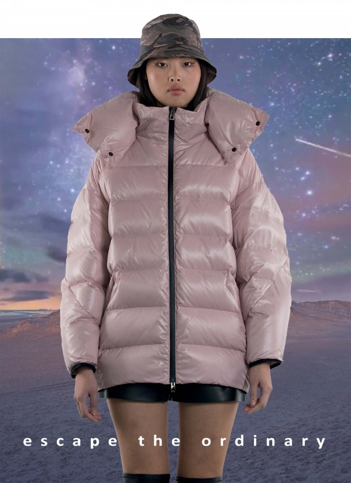 """EGG SHAPED QUILTED JACKET WITH GOOSE DOWN IN """"TECHNO SHINY"""""""