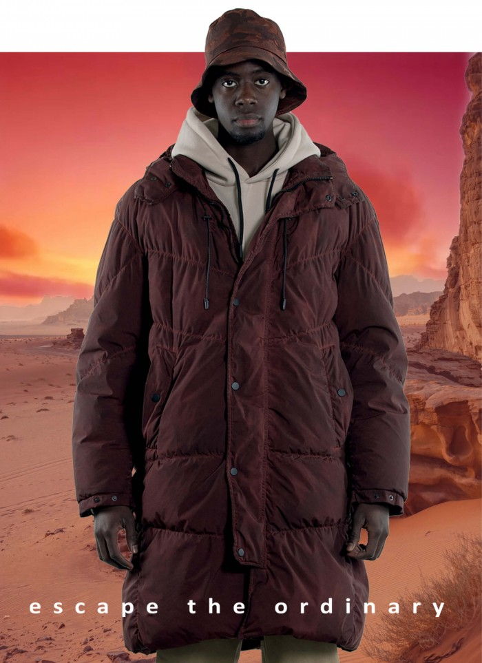 """HOODIE LONG JACKET QUILTED IN GOOSE DOWN IN """"SHADED DYED TECHNO STRETCH"""""""