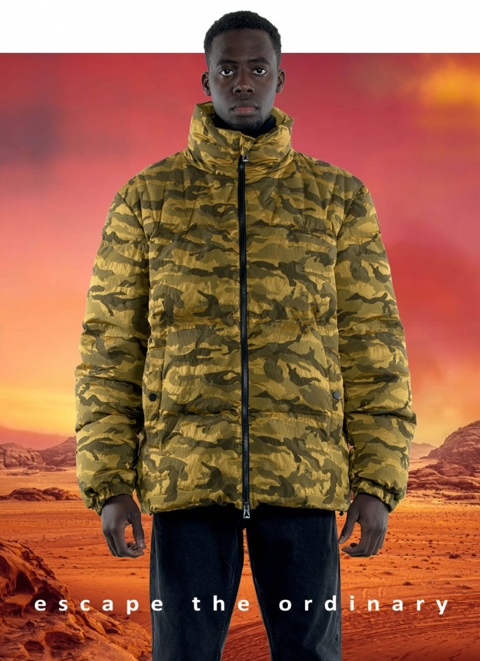 """SHORT QUILTED JACKET IN """"MILITARY DYED JACQUARD"""""""
