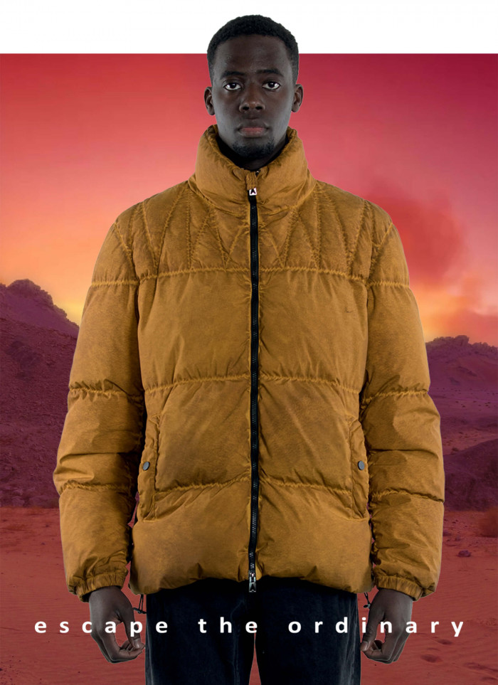 """SHORT JACKET QUILTED IN GOOSE DOWN IN """"SHADED DYED TECHNO STRETCH"""""""